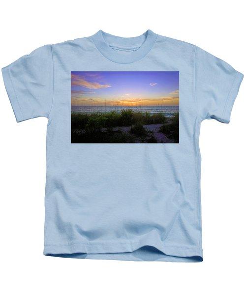 Sunset At Barefoot Beach Preserve In Naples, Fl Kids T-Shirt