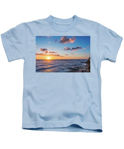 Sunset At Swami's Beach  Kids T-Shirt