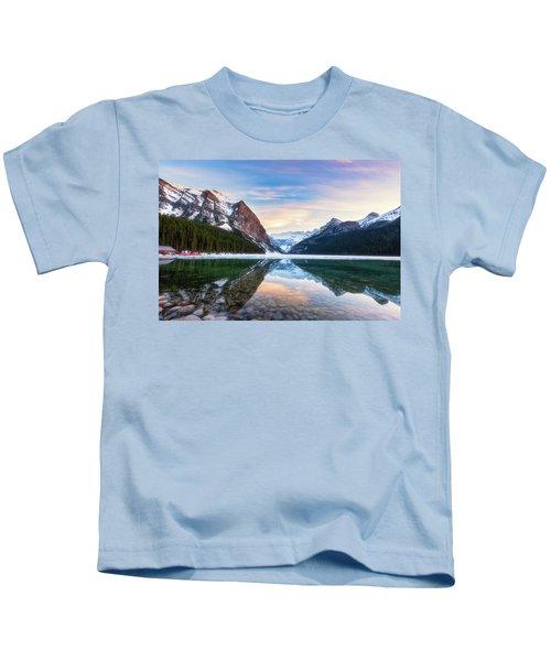 Sunset Lake Louise Kids T-Shirt
