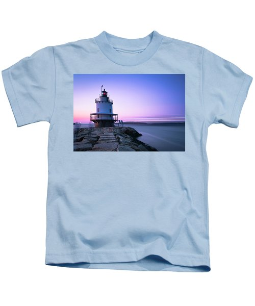 Sunset Over Spring Breakwater Lighthouse In South Maine Kids T-Shirt