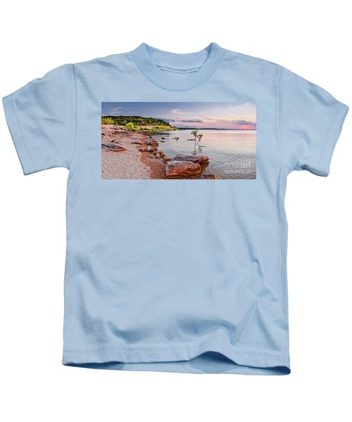 Sunset Panorama Of Canyon Lake East Shore New Braunfels Guadalupe River Texas Hill Country Kids T-Shirt