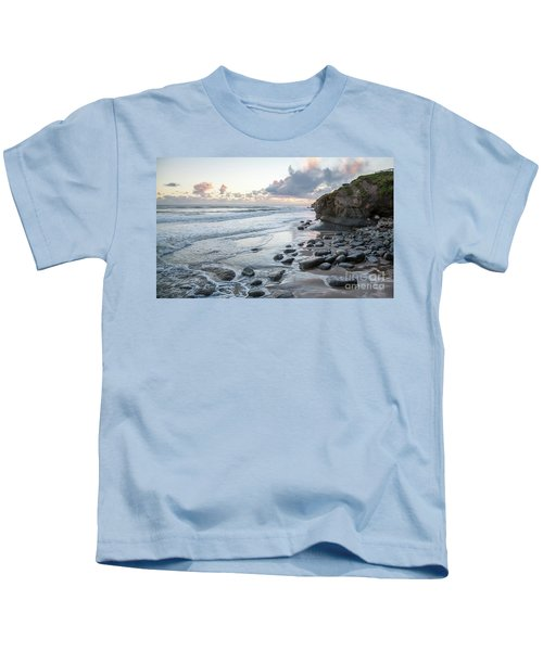 Sunset View In The Distance With Large Rocks On The Beach Kids T-Shirt