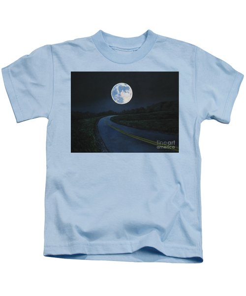 Super Moon At The End Of The Road Kids T-Shirt