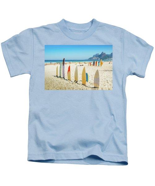 Surfboards On Ipanema Beach, Rio De Janeiro Kids T-Shirt