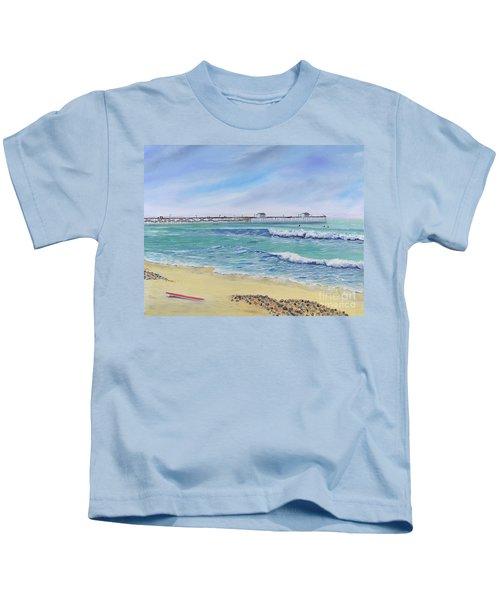 Surfing In San Clemente Kids T-Shirt