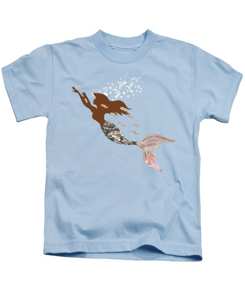 Swimming With The Fishes A Brown Mermaid Racing Rose Gold Fish Kids T-Shirt by Tina Lavoie