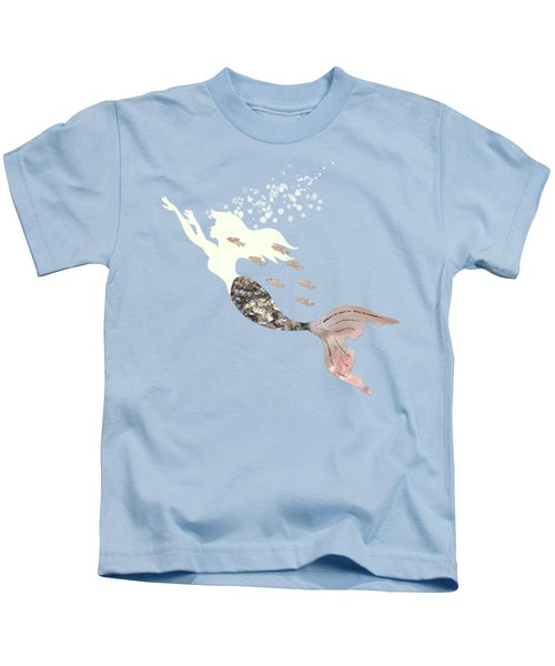 Swimming With The Fishes A White Mermaid Racing Rose Gold Fish Kids T-Shirt