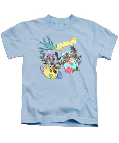 Tea For Two Kids T-Shirt by Little Bunny Sunshine