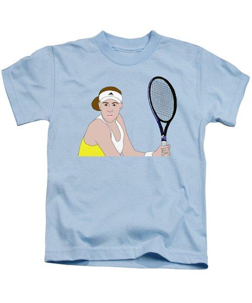 Tennis Player Kids T-Shirt by Priscilla Wolfe