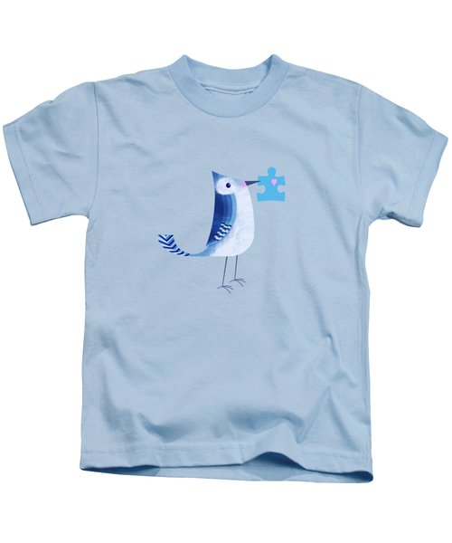 The Letter Blue J Kids T-Shirt by Valerie Drake Lesiak