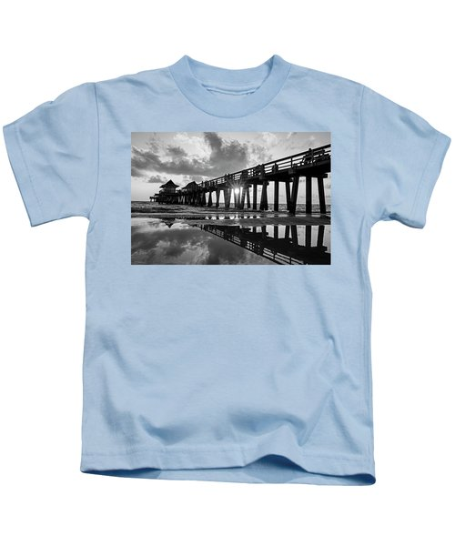 Naples Pier At Sunset Naples Florida Black And White Kids T-Shirt