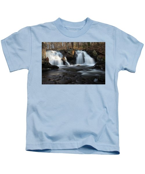 The Secret Waterfall In Golden Light Kids T-Shirt