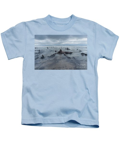 The Tide Comes In Over The Bronze Age Sunken Forest At Borth On The West Wales Coast Uk Kids T-Shirt