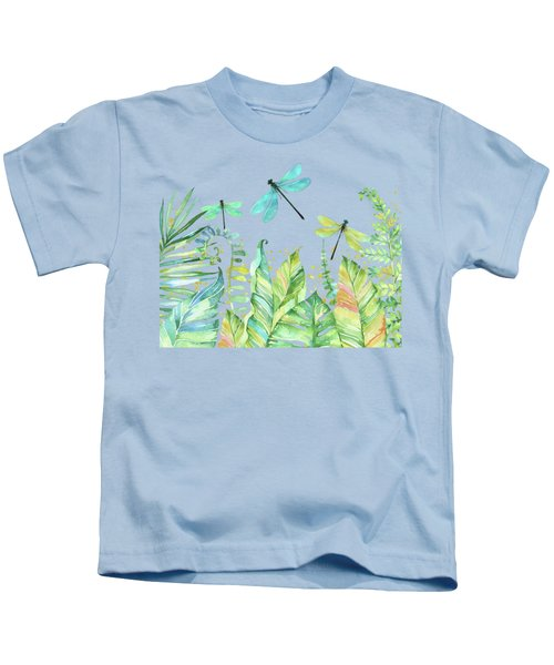 This Is Our Happy Place Tropical Jungle Dragonfly Word Art Kids T-Shirt