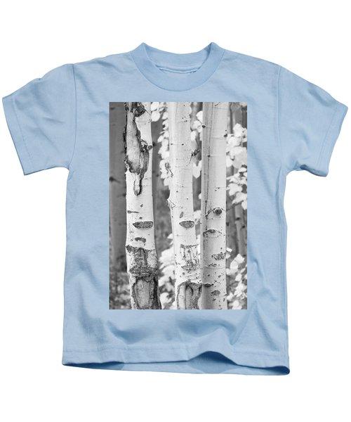 Three Aspens In Black And White  Kids T-Shirt
