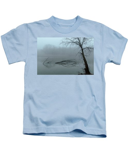 Trees In The Fog On The River Kids T-Shirt