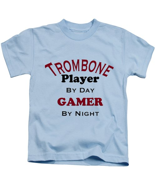 Trombone Player By Day Gamer By Night 5626.02 Kids T-Shirt by M K  Miller