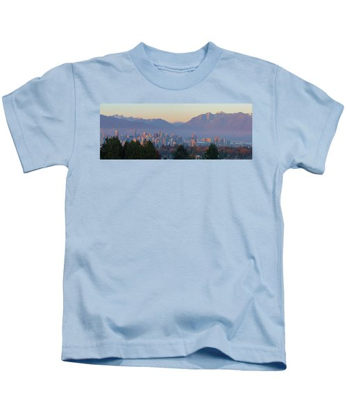 Vancouver Bc Downtown Cityscape At Sunset Panorama Kids T-Shirt