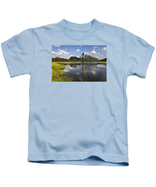 Vermillion Lake And Sulpher Mountain Kids T-Shirt
