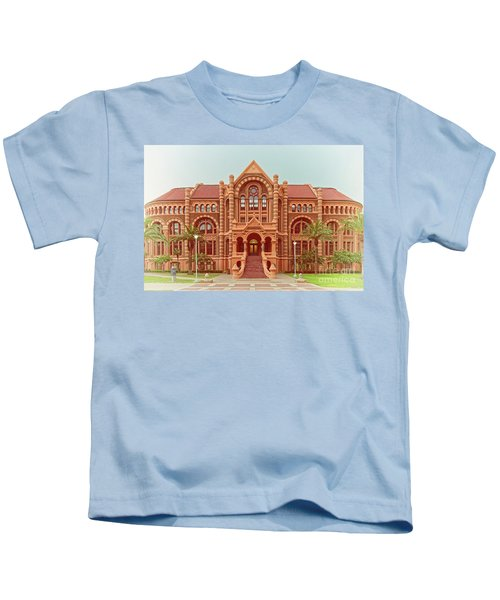Vintage Architectural Photograph Of Ashbel Smith Old Red Building At Utmb - Downtown Galveston Texas Kids T-Shirt