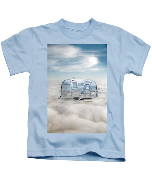 Vintage Camping Trailer In The Clouds Kids T-Shirt