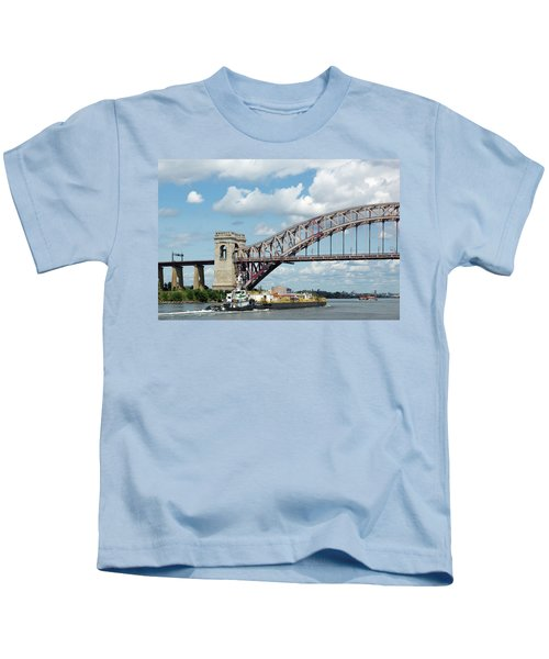 Hell Gate Bridge And Barge Kids T-Shirt