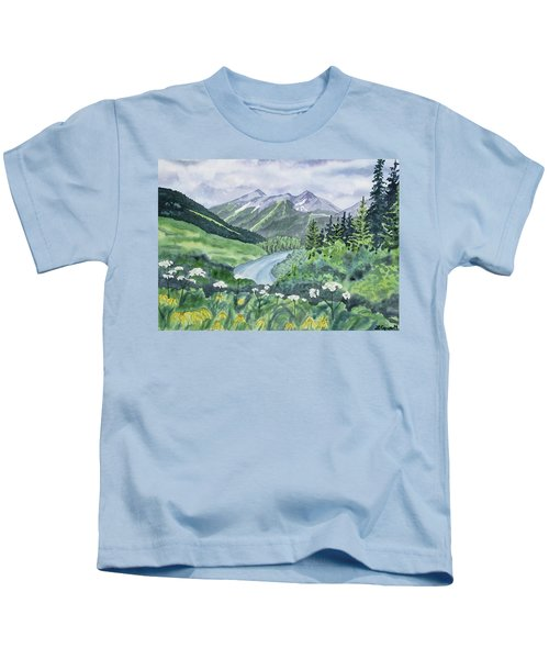 Watercolor - Colorado Summer Landscape Kids T-Shirt