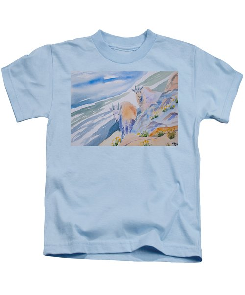 Watercolor - Mountain Goats On Quandary Kids T-Shirt