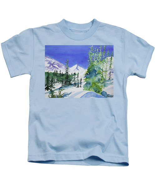 Watercolor - Sunny Winter Day In The Mountains Kids T-Shirt