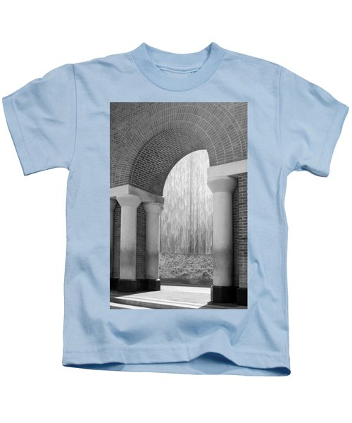Waterwall And Arch 3 In Black And White Kids T-Shirt