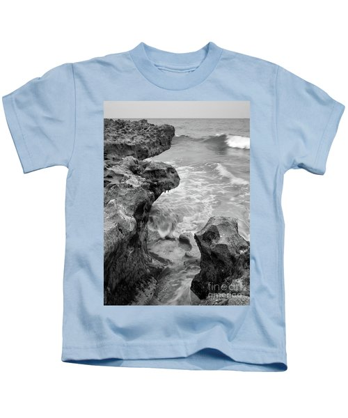 Waves And Coquina Rocks, Jupiter, Florida #39358-bw Kids T-Shirt