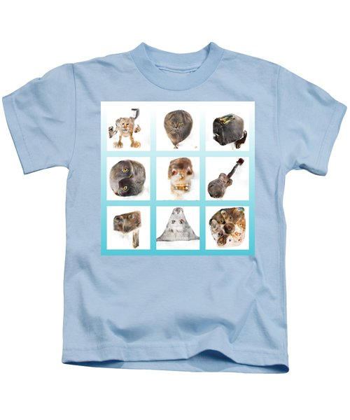Weird Cats In White Squares On Teal Kids T-Shirt