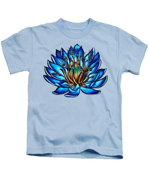 Weird Multi Eyed Blue Water Lily Flower Kids T-Shirt