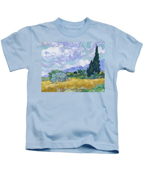 Wheat Field With Cypresses, 1889 Kids T-Shirt