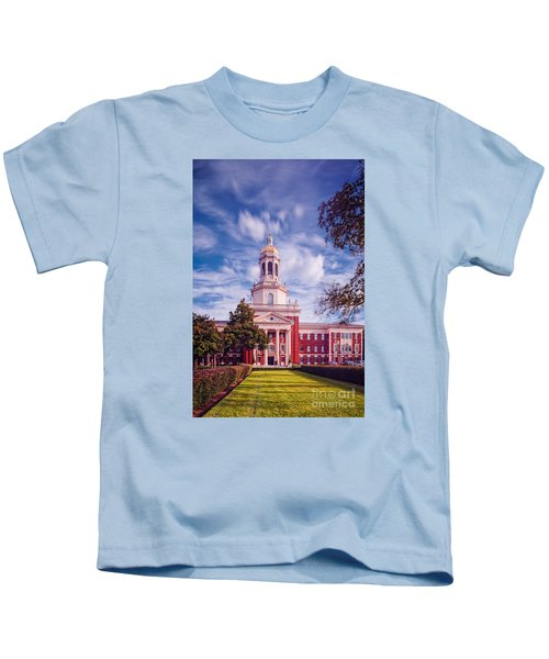 Whimsical Clouds Behind Pat Neff Hall - Baylor University - Waco Texas Kids T-Shirt