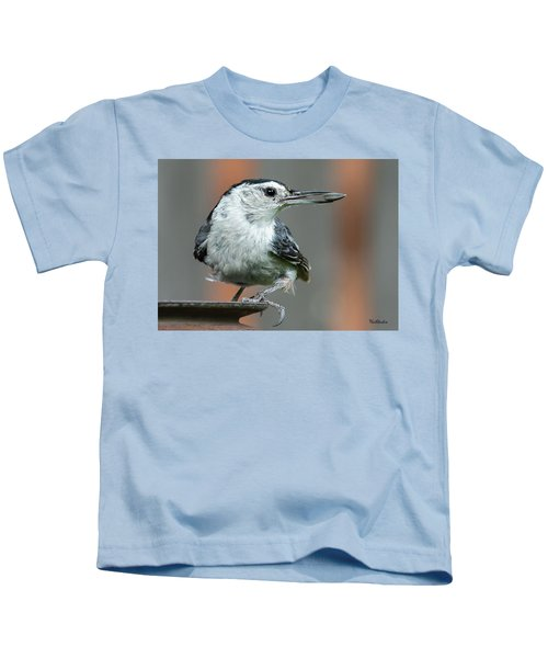 White-breasted Nuthatch With Sunflower Seed Kids T-Shirt