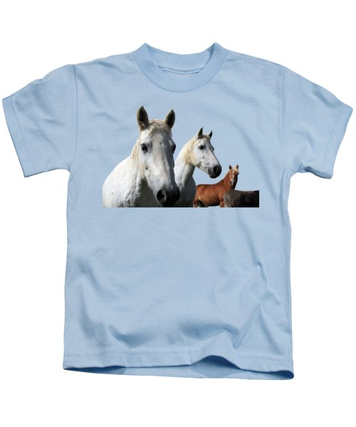 White Camargue Horses Kids T-Shirt