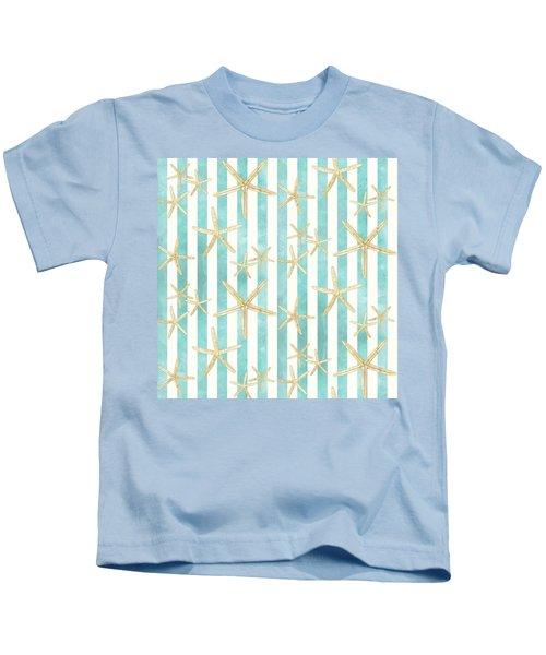 White Finger Starfish Watercolor Stripe Pattern Kids T-Shirt