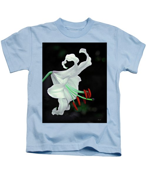 White, Red And Green Lily Kids T-Shirt