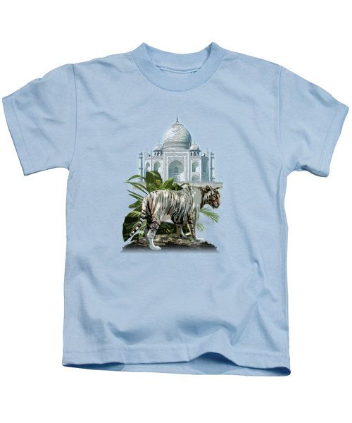 White Tiger And The Taj Mahal Image Of Beauty Kids T-Shirt