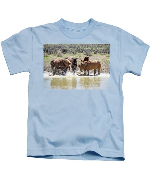 Wild Mustang Stallions Playing In The Water - Sand Wash Basin Kids T-Shirt