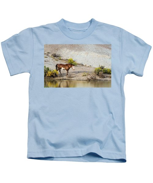 Wild Stallion Of Sand Wash Basin, Raindance Kids T-Shirt