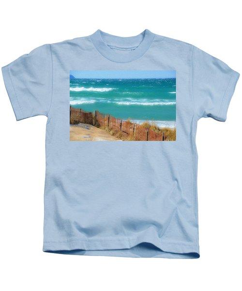 Windy Day On Lake Michigan Kids T-Shirt