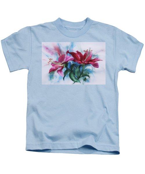 Wine Lillies In Pastel Watercolour Kids T-Shirt