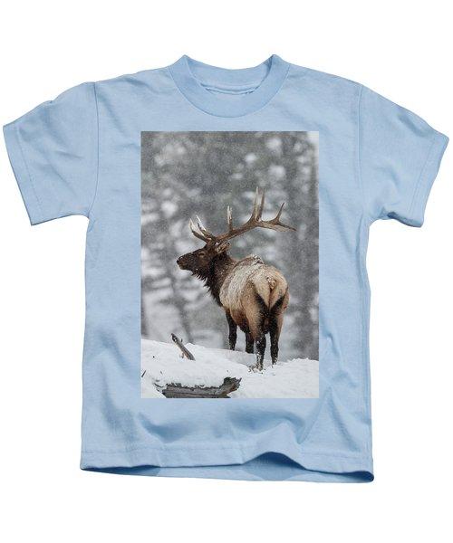 Winter Bull Elk Kids T-Shirt