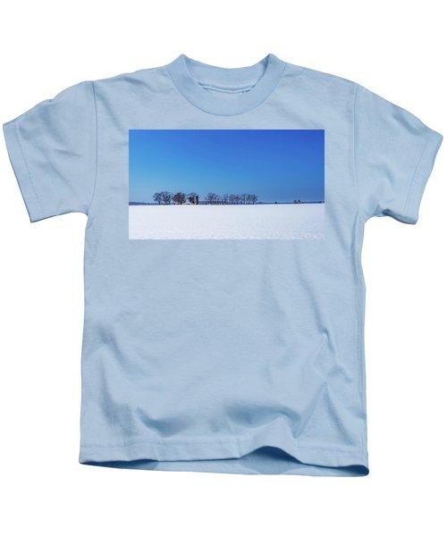 Winter Farm Blue Sky Kids T-Shirt