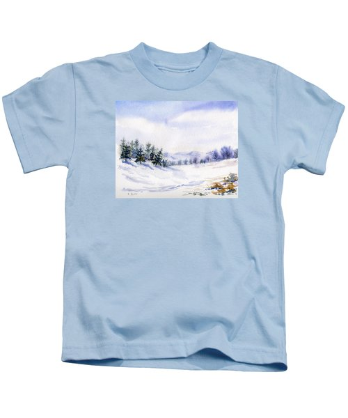 Winter Landscape Snow Scene Kids T-Shirt