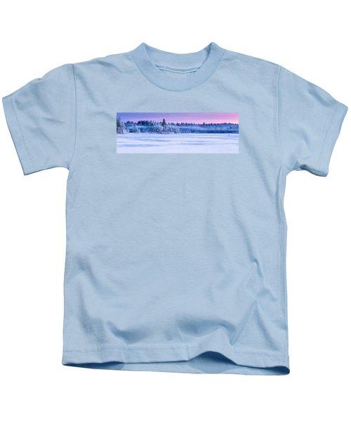 Winter Mist Baxter Lake New Hampshire Kids T-Shirt