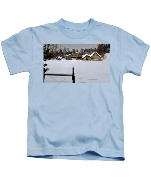 Winter On The Ranch Kids T-Shirt