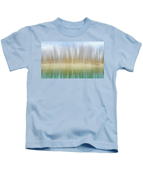 Winter Trees On A River Bank Reflecting Into Water Kids T-Shirt